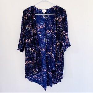 NWOT Lularoe Blue Patchy Floral Print Kimono